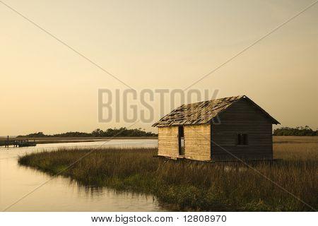 Worn out building in marsh on Bald Head Island, North Carolina.