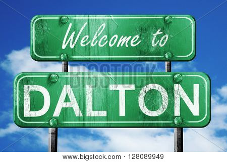 dalton vintage green road sign with blue sky background