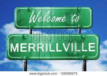 merrilville vintage green road sign with blue sky background