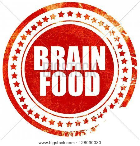 brain food, grunge red rubber stamp with rough lines and edges