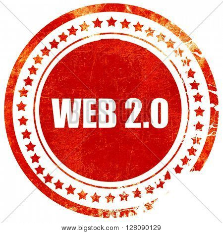 web 2.0, grunge red rubber stamp with rough lines and edges