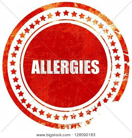 allergies, grunge red rubber stamp with rough lines and edges