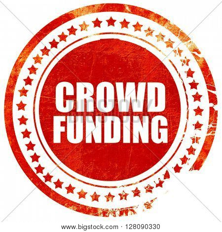 crowd funding, grunge red rubber stamp with rough lines and edge
