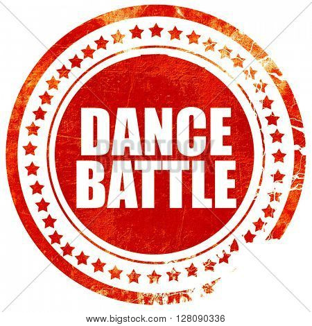 dance battle, grunge red rubber stamp with rough lines and edges