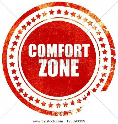 comfort zone, grunge red rubber stamp with rough lines and edges