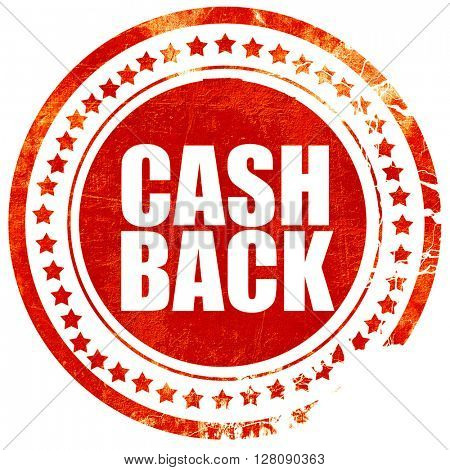 cash back, grunge red rubber stamp with rough lines and edges
