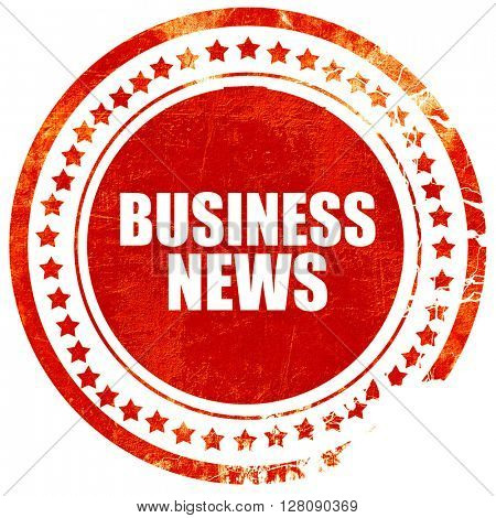 business news, grunge red rubber stamp with rough lines and edge