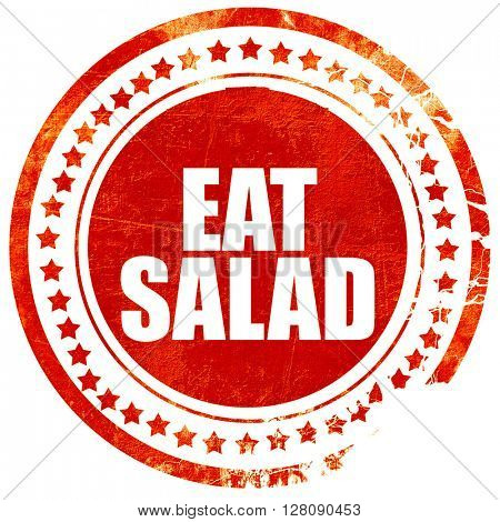 eat salad, grunge red rubber stamp with rough lines and edges