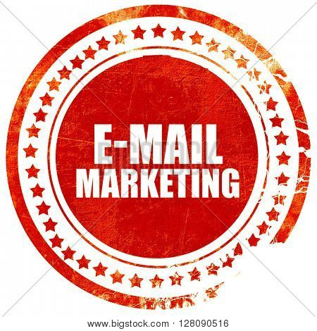 email marketing, grunge red rubber stamp with rough lines and ed