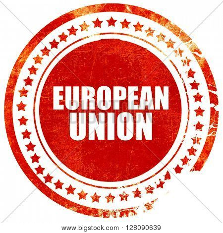 european union, grunge red rubber stamp with rough lines and edg