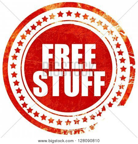 free stuff, grunge red rubber stamp with rough lines and edges