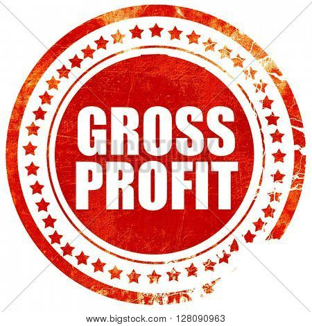 gross profit, grunge red rubber stamp with rough lines and edges