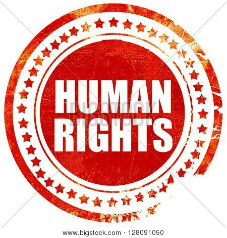 human rights, grunge red rubber stamp with rough lines and edges
