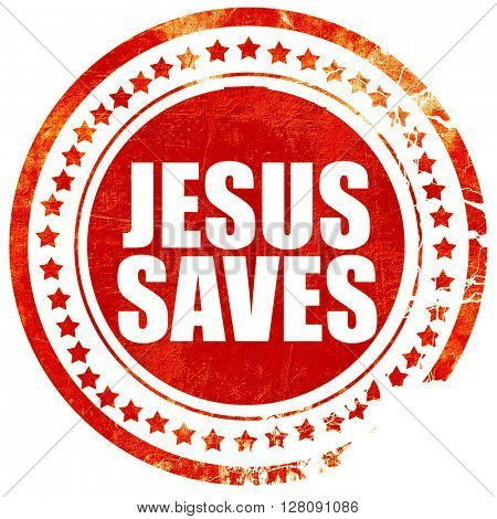 jesus saves, grunge red rubber stamp with rough lines and edges