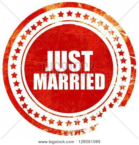 just married, grunge red rubber stamp with rough lines and edges