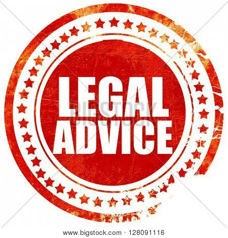 legal advice, grunge red rubber stamp with rough lines and edges