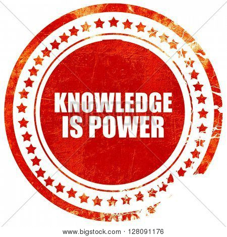 knowledge is power, grunge red rubber stamp with rough lines and