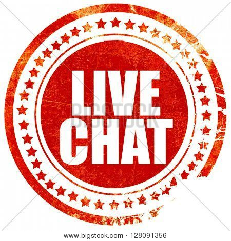live chat, grunge red rubber stamp with rough lines and edges