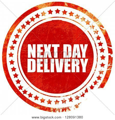 next day delivery, grunge red rubber stamp with rough lines and