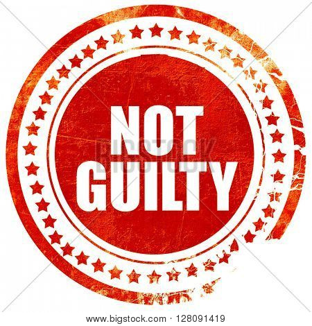 not guilty, grunge red rubber stamp with rough lines and edges
