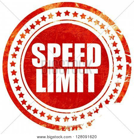 speed limit, grunge red rubber stamp with rough lines and edges