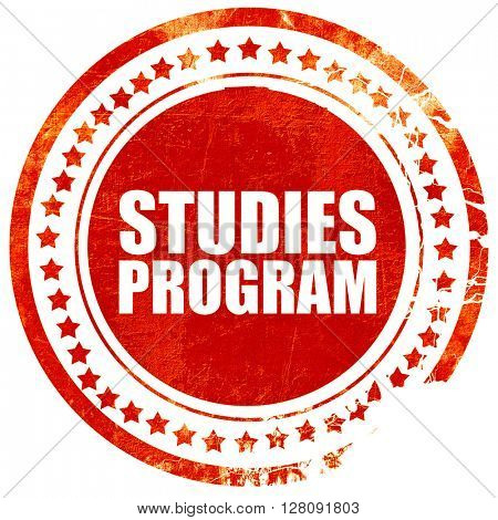 studies program, grunge red rubber stamp with rough lines and ed