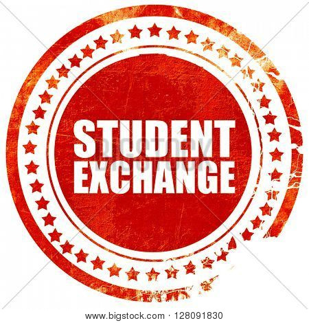 student exchange, grunge red rubber stamp with rough lines and e