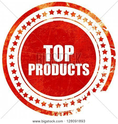top products, grunge red rubber stamp with rough lines and edges