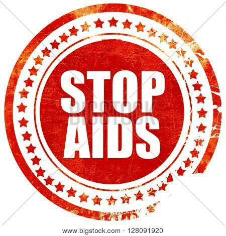 stop aids, grunge red rubber stamp with rough lines and edges