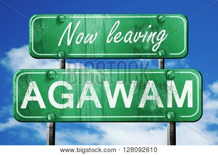 Leaving agawam, green vintage road sign with rough lettering