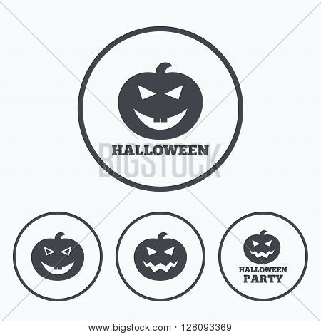 Halloween pumpkin icons. Halloween party sign symbol. All Hallows Day celebration. Icons in circles.