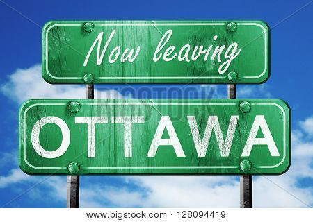 Leaving ottawa, green vintage road sign with rough lettering