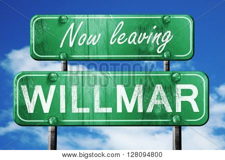 Leaving willmar, green vintage road sign with rough lettering