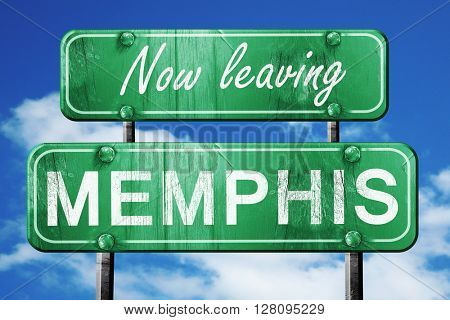 Leaving memphis, green vintage road sign with rough lettering
