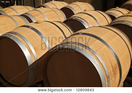 New barrels for wine background