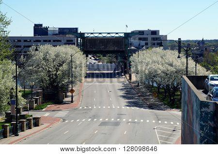 JOLIET, ILLINOIS / UNITED STATES - APRIL 26, 2015: The Jefferson Street Drawbridge crosses the Des Plaines River in downtown Joliet.