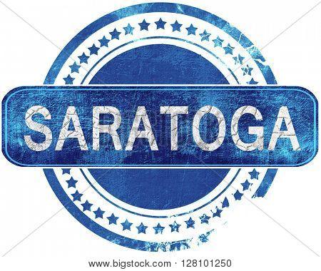 saratoga grunge blue stamp. Isolated on white.