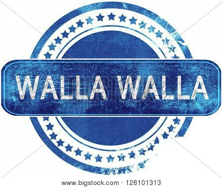 walla walla grunge blue stamp. Isolated on white.