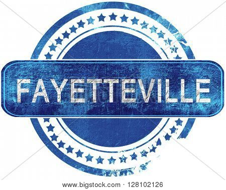 fayetteville grunge blue stamp. Isolated on white.