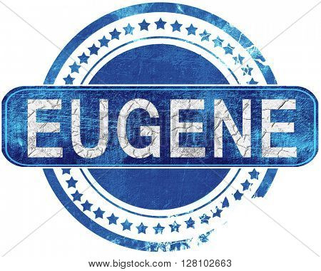 eugene grunge blue stamp. Isolated on white.