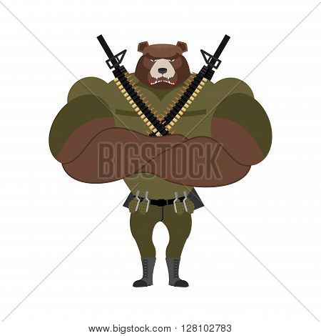 Military Strong Bear. Powerful Big Monster Soldiers. Beast Troopers Military Accessories: Exploding