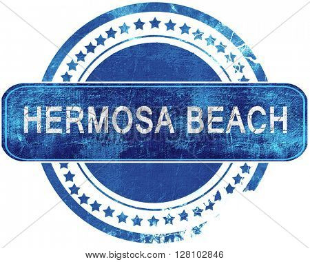 hermosa beach grunge blue stamp. Isolated on white.