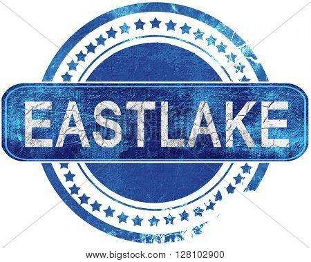 eastlake grunge blue stamp. Isolated on white.