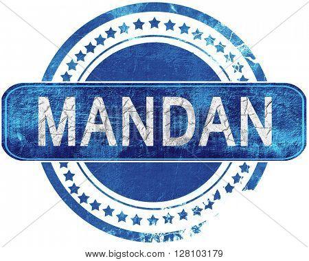 mandan grunge blue stamp. Isolated on white.