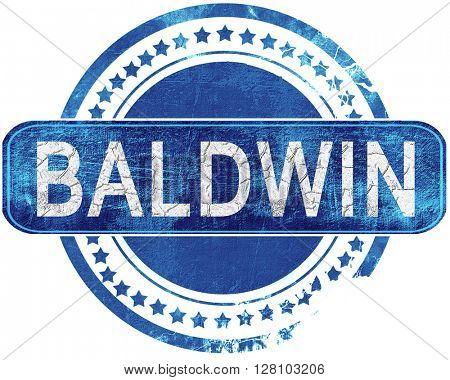 baldwin grunge blue stamp. Isolated on white.