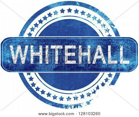 whitehall grunge blue stamp. Isolated on white.