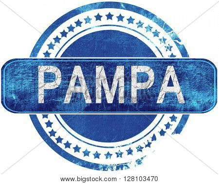 pampa grunge blue stamp. Isolated on white.