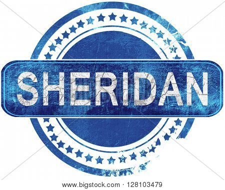 sheridan grunge blue stamp. Isolated on white.