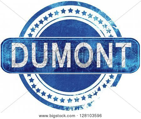 dumont grunge blue stamp. Isolated on white.