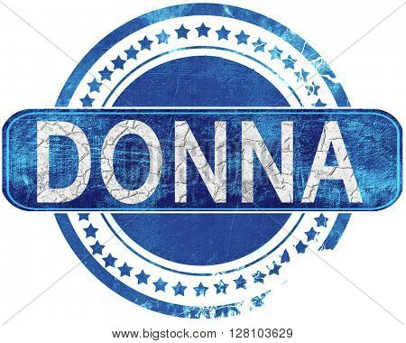 donna grunge blue stamp. Isolated on white.